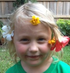 Girl with Flowers in Garden 9-2016
