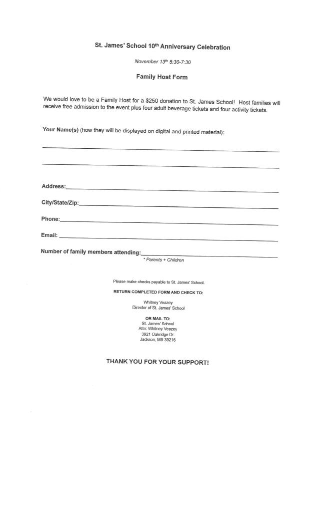 10th Anniversary Celebration and Fundraiser Form